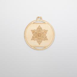 ξύλινη μπάλα με χιονονιφάδα για στολισμούς