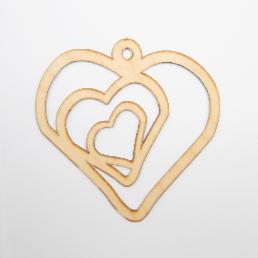 ξύλινη καρδιά με δυο καρδιές για στολισμούς