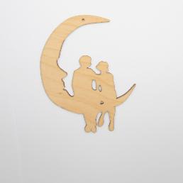 ξύλινο φεγγάρι με ζευγάρι για στολισμούς κ δώρα